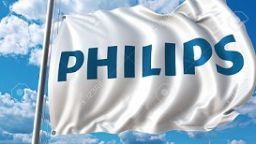 80800221-waving-flag-with-philips-logo-against-sky-and-clouds-editorial-3d-rendering
